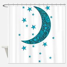 Cyan Blue Moon Stars Flowers Shower Curtain