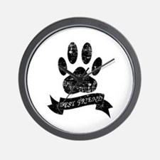 Distressed Dog Paw With Ribbon Wall Clock