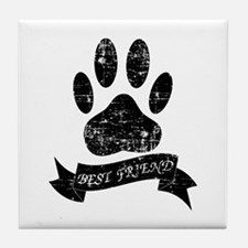 Distressed Dog Paw With Ribbon Tile Coaster
