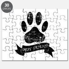 Distressed Dog Paw With Ribbon Puzzle