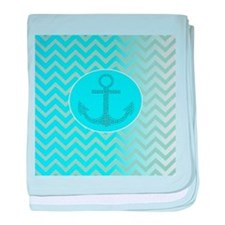 anchor ombre turquoise chevron baby blanket