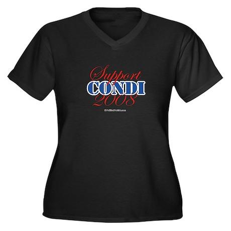 Support Condi Women's Plus Size V-Neck Dark T-Shir