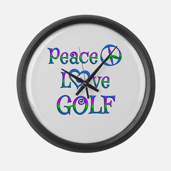 Peace Love Golf Large Wall Clock