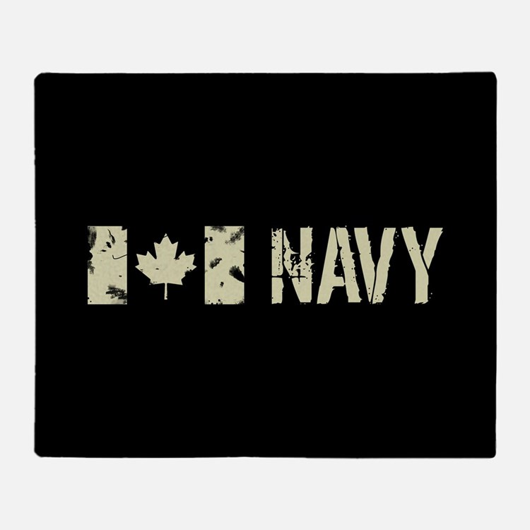 Canadian Flag: Navy Throw Blanket