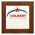 Colbert for President Framed Tile