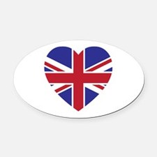 Union Jack Heart Oval Car Magnet