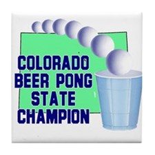 Colorado Beer Pong State Cham Tile Coaster