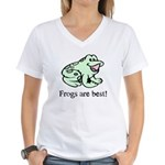 Cute Frogs are Best Love Frog Women's V-Neck T-Shi