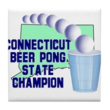 Connecticut Beer Pong State C Tile Coaster