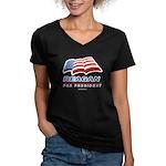 Support Reagan for President Women's V-Neck Dark T