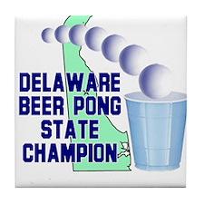 Delaware Beer Pong State Cham Tile Coaster