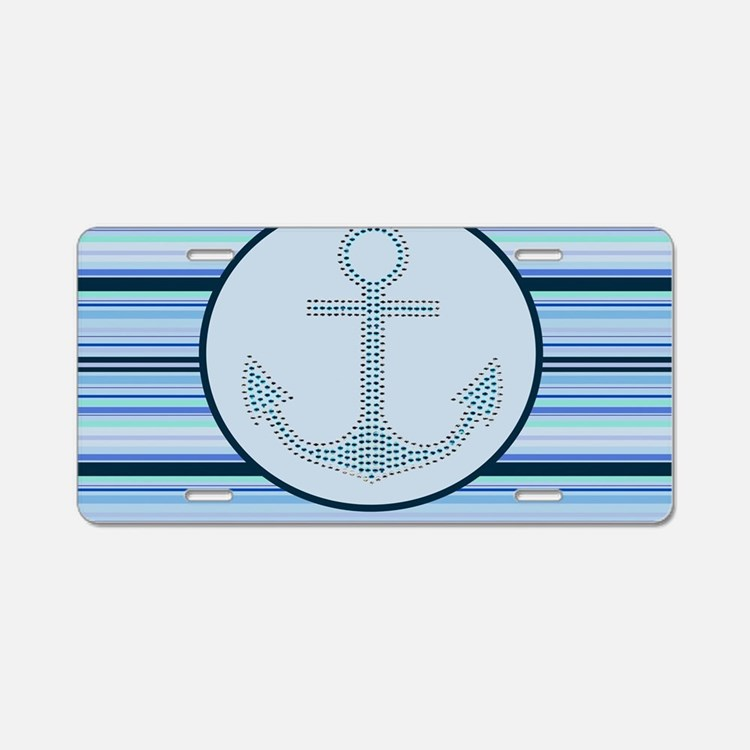 blue anchor nautical stripe Aluminum License Plate
