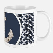 navy blue geometric pattern anchor Mugs
