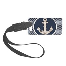 navy blue geometric pattern anch Luggage Tag
