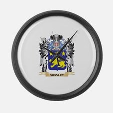 Shanley Coat of Arms - Family Cre Large Wall Clock