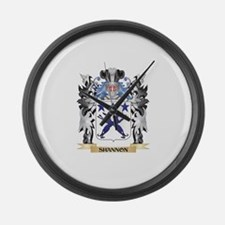 Shannon Coat of Arms - Family Cre Large Wall Clock