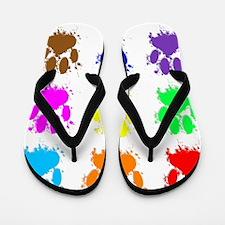 Ink Splatter Dog Paw Pattern Flip Flops