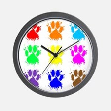 Ink Splatter Dog Paw Pattern Wall Clock