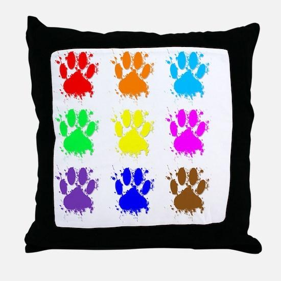 Ink Splatter Dog Paw Pattern Throw Pillow