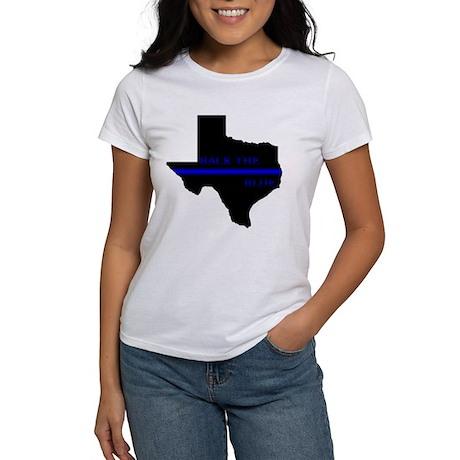Thin blue line back the blue texas women 39 s classic t shirt for Texas thin blue line shirt