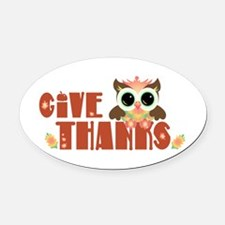 Give Thanks Oval Car Magnet