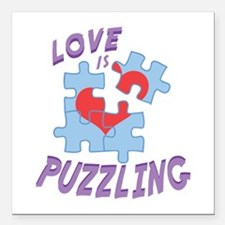 "Love Is Puzzling Square Car Magnet 3"" x 3"""
