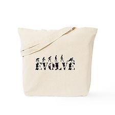 Curling Caveman Tote Bag