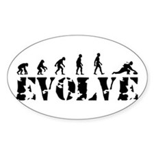 Curling Caveman Oval Decal
