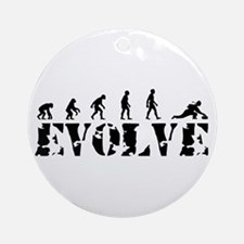 Curling Caveman Ornament (Round)