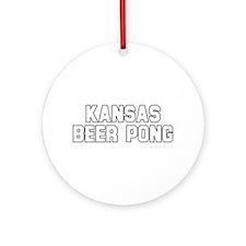 Kansas Beer Pong Ornament (Round)