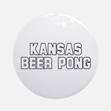 Kansas Beer Pong Ornament (Round)