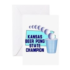 Kansas Beer Pong State Champi Greeting Cards (Pk o