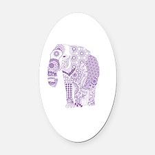 Tangled Purple Elephant  Oval Car Magnet
