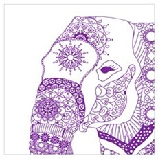 Tangled Purple Elephant Canvas Art