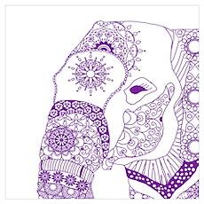 Tangled Purple Elephant  Poster