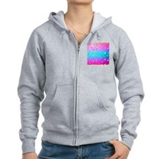 Hot Pink And Aqua Blue Gradient Zip Hoodie