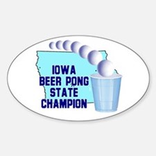 Iowa Beer Pong State Champion Oval Decal