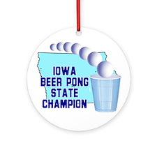 Iowa Beer Pong State Champion Ornament (Round)
