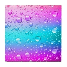 Hot Pink And Aqua Blue Gradient Water Tile Coaster
