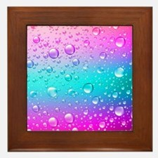 Hot Pink And Aqua Blue Gradient Water Framed Tile