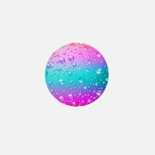 Hot Pink And Aqua Blue Gradient Water Mini Button