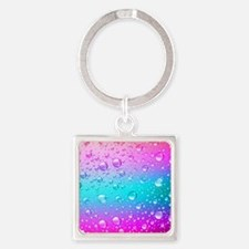 Hot Pink And Aqua Blue Gradient Water Dr Keychains