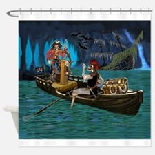 Skeleton Pirates Cave Shower Curtain