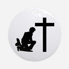 COWBOY KNEELING AT CROSS Round Ornament