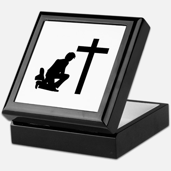 COWBOY KNEELING AT CROSS Keepsake Box