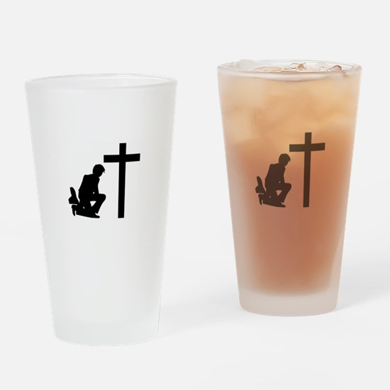 COWBOY KNEELING AT CROSS Drinking Glass