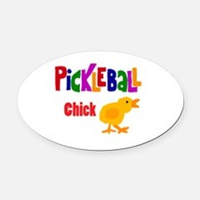 Funny Pickleball Chick Oval Car Magnet