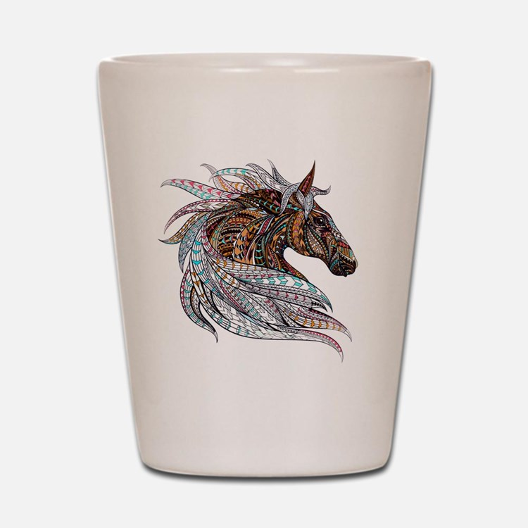 Warm colors horse drawing Shot Glass