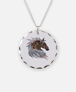 Warm colors horse drawing Necklace