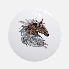 Warm colors horse drawing Round Ornament